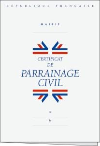 """Certificado de """"padrinazgo civil"""" de la República Francesa"""