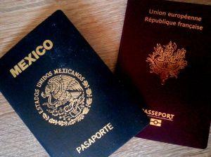 Pasaportes mexicano y francés